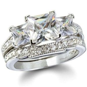 Jewelry - Princess cut Sterling Silver Wedding Ring Set 4cts